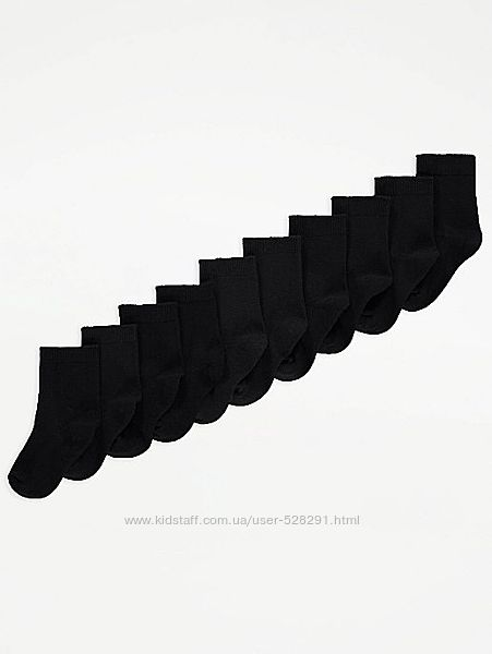 Школьные носочки George р. 27 - 30, 31 - 36 и 37 - 40. Цена за 10 шт.