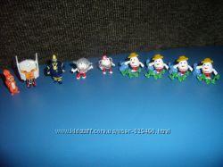Фигурки из киндеров миньоны, морской царь, белка, киндерино