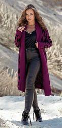 Вязаное пальто с леопардовым принтом Лео, 6 расцветок