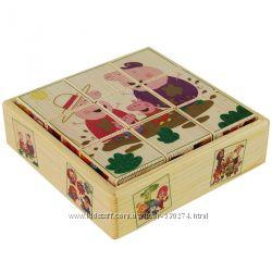 Детские деревянные развивающие кубики-пазлы Пеппа, Лунтик, Фиксики