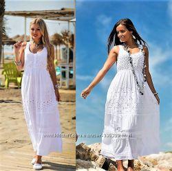 Летний длинный сарафан платье белое в пол из кружева прошвы Испания