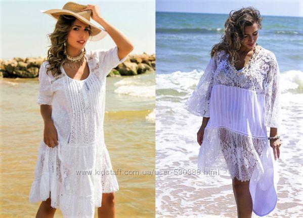 6134449e1df Женское летнее платье миди Испания туника рубашка пляжное хлопок кружево