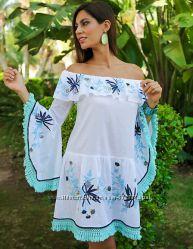 Женское летнее белое платье в стиле бохо с рукавом вышивкой Испания