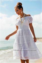 Летнее белое платье сарафан миди расклешенное из хлопка и прошвы