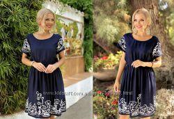 Летнее женское деловое платье вышивкой миди до колен Испания 46 48