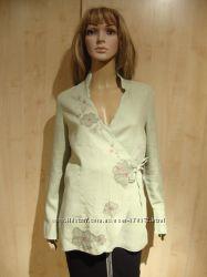Блуза лен с хлопком и цветами.