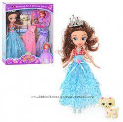 Кукла София с нарядом SF, 25см, собачка, корона. , GZ 022-3