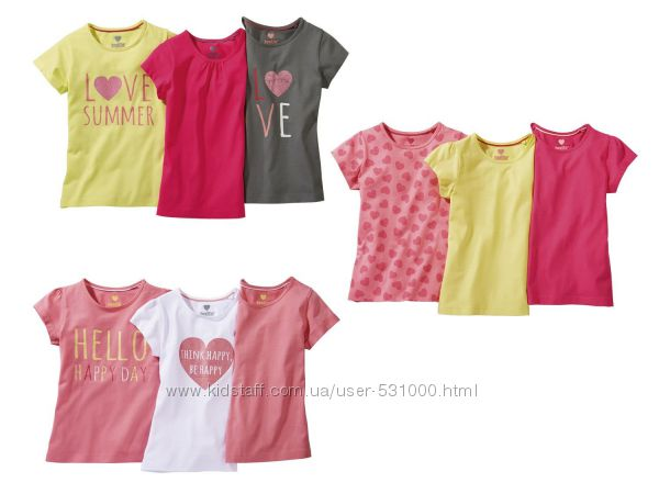 Комплекты футболок для девочек Lupilu цена за комплект
