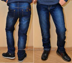 Стильные брендовые утеплённые джинсы Armani на флисе для мальчиков 8-14 лет
