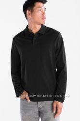 Отличная черная мужская хлопковая футболка поло длинный рукав р. S, L  C&А
