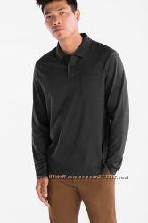 Отличная мужская хлопковая футболка поло длинный рукав р. S, ХХL-ка C&А