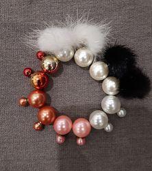 серьги пусеты копия Dior двойные серьги акция