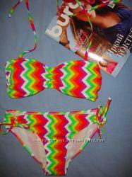 купальник раздельный бикини размер 44-46  10 разноцветный радуга бандо