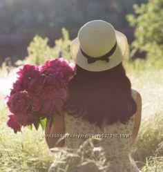 Летняя женская соломенная шляпа-канотье