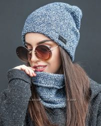 Теплый, женские наборы шапка и снуд
