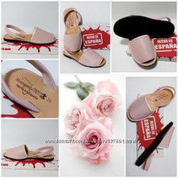 Кожаная обувь, аварки, менорки. Пудра цвет. Оригинал. Испания.