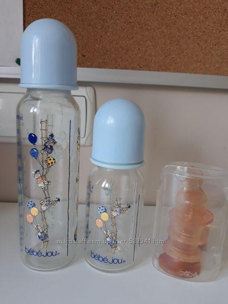 Бутылочки стеклянные для кормления, соски, пустышки Bebe jou, Canpol, chicc