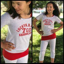Спортивный костюм футболка и бриджи для девочек 128-134