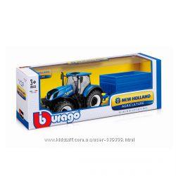 Автомодель серии Farm  Трактор New Holland с прицепом Bburago 18-44067