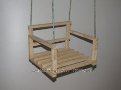 Качели детские деревянные со спинкой