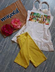 Новый костюм летний желтые велосипедки и удлиненная футболка mayoral 12-14