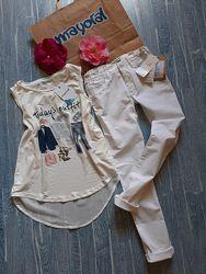 Белый нарядный костюм на лето майка/ туника , джинсы Mayoral р 152-165 см