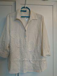 Летняя блузка с аппликацией, лён, большой размер