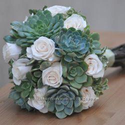 Весільна флористика з живих рослин сукулентів