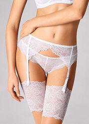 Белый кружевной пояс для чулок Marks & Spencer UK 8