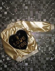 Золотая куртка ветровка золото бомбер эко кожа 98-104