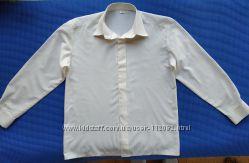 Белая нарядная рубашка сорочка с длинным рукавом мальчику на 7-8-9 лет, 13
