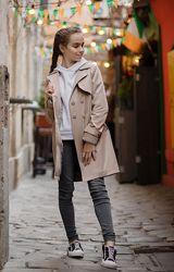 Супер стильный тренчкот тренч плащ пальто для девочки