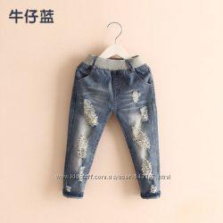 Стильные джинсы, детские, рваные
