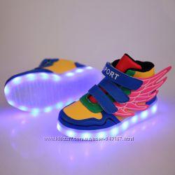 Кроссовки с светящей подошвой LED, 25-36, цветные, комби