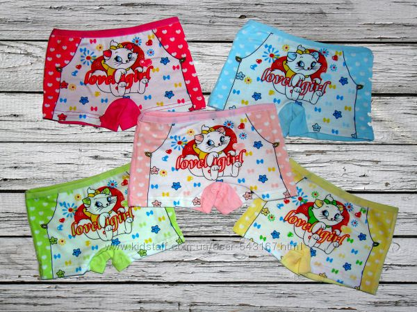 Хлопковые трусики шортики для девочки 1-2 года с кошечкой