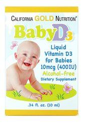 California Gold Nutrition, Витамин D 3 для детей, 400 МЕ,