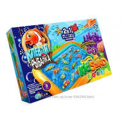 Песок кинетический Danko toys KidSand Клевая Рыбалка 2 в 1