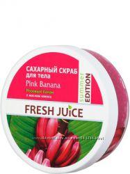 Сахарный скраб для тела Розовый банан с маслом кокоса Fresh Juice Pink