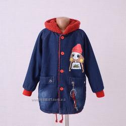 Утепленная джинсовая курточка для девочки  Рост 116см