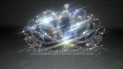 Диадема, корона серебристого цвета на гребне