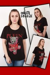 Женская белая турецкая футболка Philipp Plein s m l xl 2xl