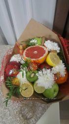 Букет из фруктов, овощей, мясной, пивной, из конфет с цетами