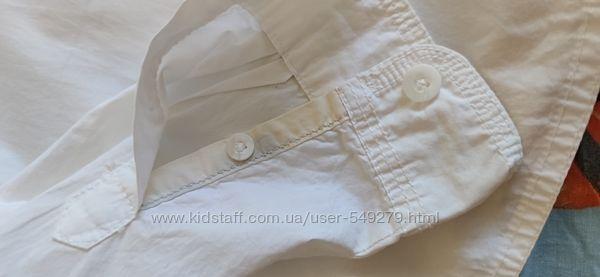 Рубашка белая с длинным рукавом рост110-116