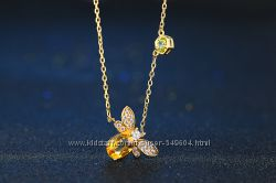 Коллекция из пчелками  в 14К. золоте и драгоценных камнях-перидот, цитрин.