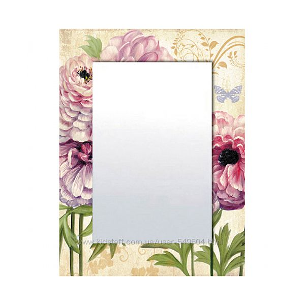 Зеркало в деревяной оправе в стиле Прованс. Цветная роспись. Наличие. Набор