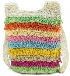 Пляжная плетенная цветная сумка