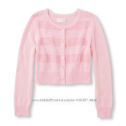 Короткий розовый кардиган, болеро с длинным рукавом 104-118см