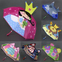 Зонт, зонтик детский рисунок 3D с ушками