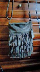 Кожаная замшевая сумка через плечо f&fh