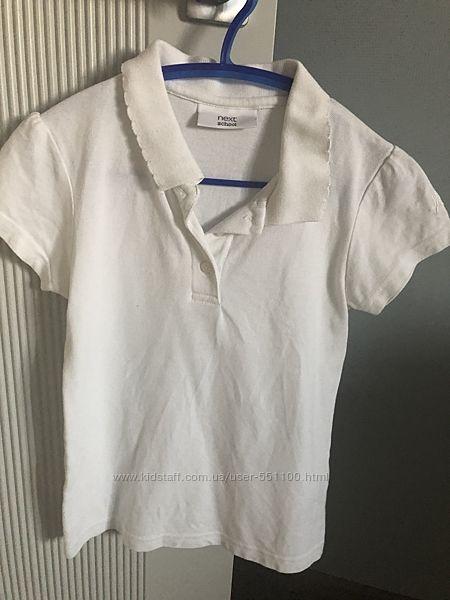 Белые футболки Поло Next 3 шт для девочки 1-2кл